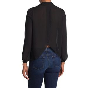 NWT Good American Open Back Neck Tie Sheer Blouse